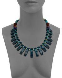 Lizzie Fortunato | Metallic Tile Semi-precious Multi-stone Bib Necklace | Lyst