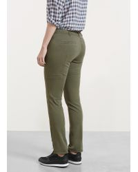 Violeta by Mango - Green Zip Cotton Trousers - Lyst