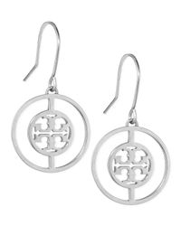 Tory Burch - Metallic Deco Logo Drop Earrings - Lyst
