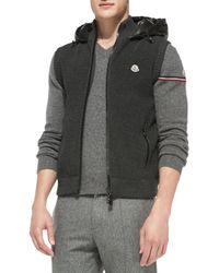 Moncler - Gray Knit Vest With Nylon Hood for Men - Lyst