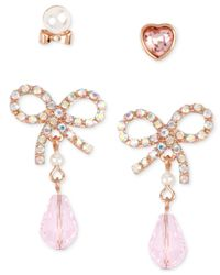 Betsey Johnson | Pink Rose Gold-tone Bow And Crystal And Stud Earring Set | Lyst