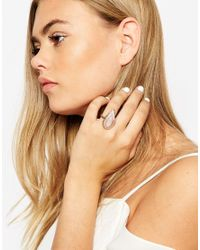 ASOS | Metallic Large Stone Ring | Lyst