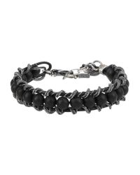 Emanuele Bicocchi - Black Embellished Leather Bracelet for Men - Lyst