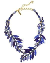 Oscar de la Renta - Blue Gold-plated Swarovski Crystal and Resin Leaf Necklace - Lyst