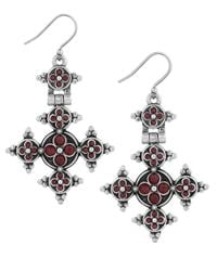 Lucky Brand - Red Modern Shine Cross Earrings - Lyst