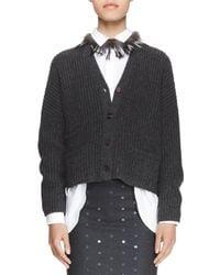 Brunello Cucinelli | Black Trimmed Fox Fur Necklace | Lyst