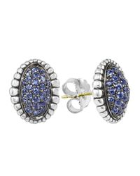 Lagos | Oval Blue Sapphire Pave Earrings | Lyst