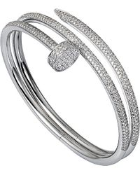 Cartier | Metallic Juste Un Clou 18ct White-gold And Diamond Double Bracelet | Lyst