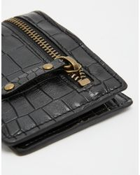ASOS - Black Wallet In Crocodile Effect With Exposed Zip for Men - Lyst