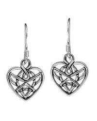 Aeravida | Metallic Romatic Celtic Heart Knot Sterling Silver Dangle Earrings | Lyst