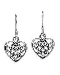 Aeravida - Metallic Romatic Celtic Heart Knot Sterling Silver Dangle Earrings - Lyst