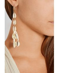 Isabel Marant | White Gold-Tone, Shell And Ceramic Bead Earrings | Lyst