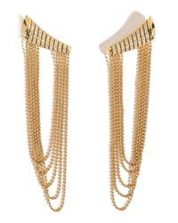 Nikos Koulis | 18kt Yellow Gold Star Earrings With White Diamonds | Lyst