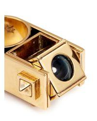 Alexander McQueen - Metallic Tiger Eye Stone Sphere Cube Stud Ring - Lyst