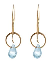 Melissa Joy Manning - Blue Medium Gold And Topaz Single Drop Earrings - Lyst