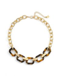 Lauren by Ralph Lauren | Metallic Faux Tortoiseshell Link Necklace | Lyst