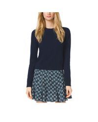 Michael Kors - Blue Cropped Cashmere Sweater - Lyst
