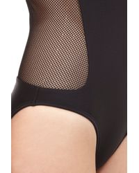 Alexander Wang | Black Zippered Meshback Swimsuit | Lyst