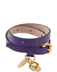 Alexander McQueen - Purple Skull Charm Leather Bracelet - Lyst