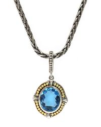 Effy | Sterling Silver 18kt Yellow Gold Blue Topaz Pendant Necklace | Lyst