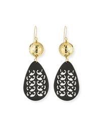 Nest | Carved Black Horn Teardrop Earrings | Lyst