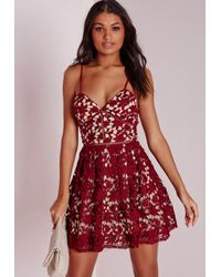 Missguided | Purple Petite Lace Skater Dress Burgundy | Lyst