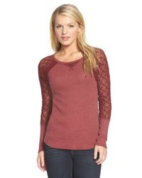Lucky Brand - Red Lace Sleeve Thermal Tee - Lyst