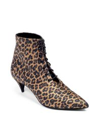 Saint Laurent - Multicolor Cat Leopardprint Laceup Ankle Boots - Lyst