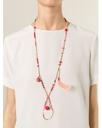 Etro - Red Feather Detail Beaded Necklace - Lyst