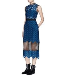 Self-Portrait | Blue Bandeau Inlay Scallop Guipure Lace Dress | Lyst