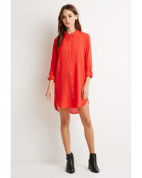 Forever 21 | Red Longline Button-tab Shirt | Lyst