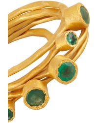 Kevia - Green Set Of Five Goldplated Crystal Rings - Lyst