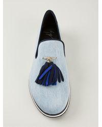 Giuseppe Zanotti - Blue Tassel Denim Slippers for Men - Lyst