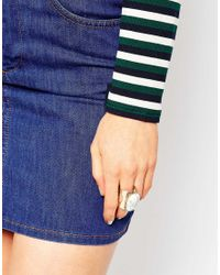 ASOS | Metallic Statement Chunky Stone Ring | Lyst