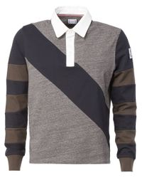 Moncler Gamme Bleu - Gray Striped Sleeve Polo Shirt for Men - Lyst