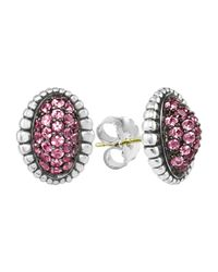 Lagos | Oval Pink Sapphire Pave Earrings | Lyst