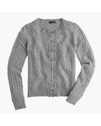 J.Crew | Gray Cambridge Cable Cardigan Sweater | Lyst