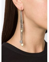 Vera Wang | Metallic Charm Detail Earrings | Lyst