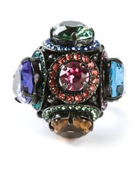 Lanvin - Multicolor Multifaceted Cocktail Ring - Lyst