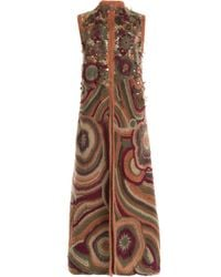 Alberta Ferretti - Brown Embroidered Cardigan With Mohair - Multicolor - Lyst