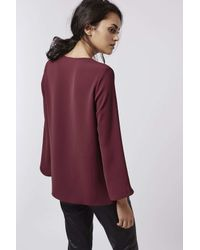 TOPSHOP - Purple Plunge V-neck Raw Edge Top - Lyst
