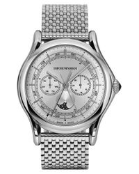 Emporio Armani - Metallic Moonphase Multifunction Watch for Men - Lyst