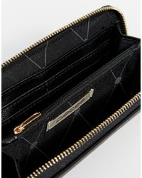 Pieces | Black Zip Wallet With Studding | Lyst