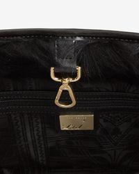 Ted Baker | Black Shearling Trim Leather Shopper Bag | Lyst