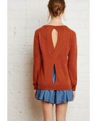 Forever 21 | Brown Twist Cutout-back Sweater | Lyst