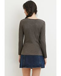 Forever 21 - Gray Stretch Knit Scoop-neck Top - Lyst
