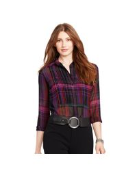 Ralph Lauren - Pink Plaid Pintucked Blouse - Lyst