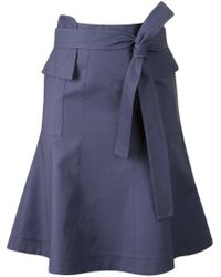 Giuliana Romanno   Blue Belted Flared Skirt   Lyst