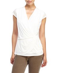 Laundry by Shelli Segal - White Twist Front Cap Sleeve Top - Lyst