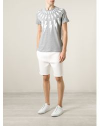 Neil Barrett - Gray Lightening Bolt T-Shirt for Men - Lyst